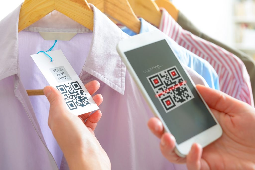 Clothing barcode being scanned