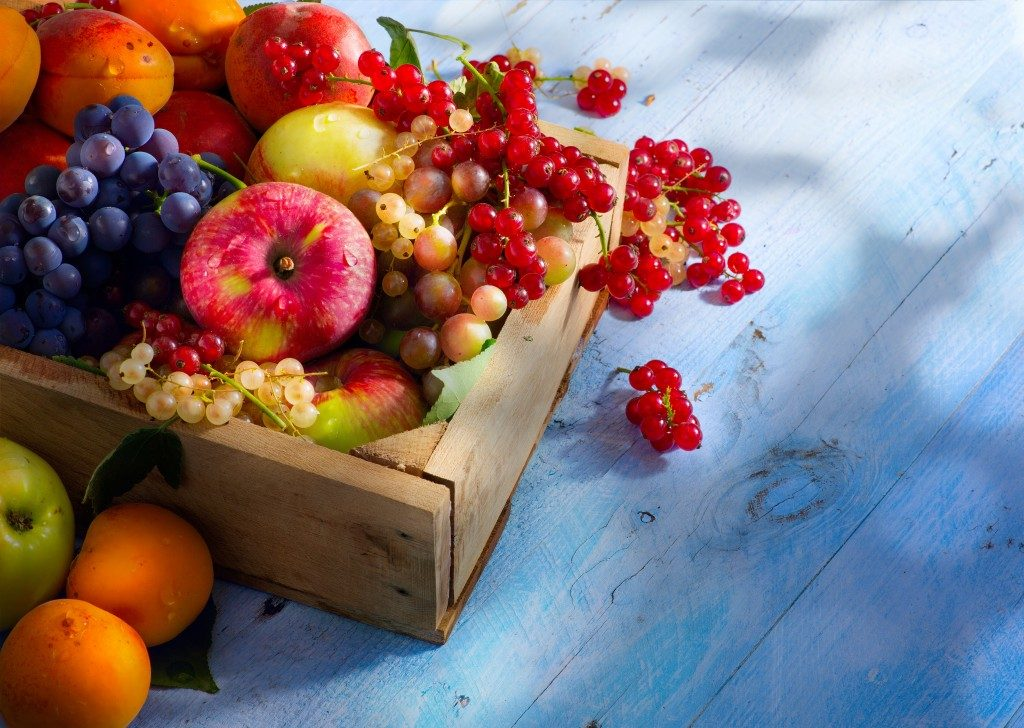 Fruits on a wooden container