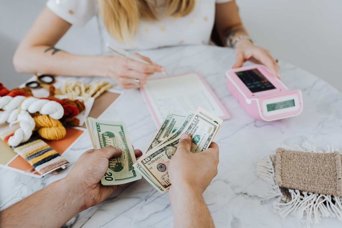 people managing their finances