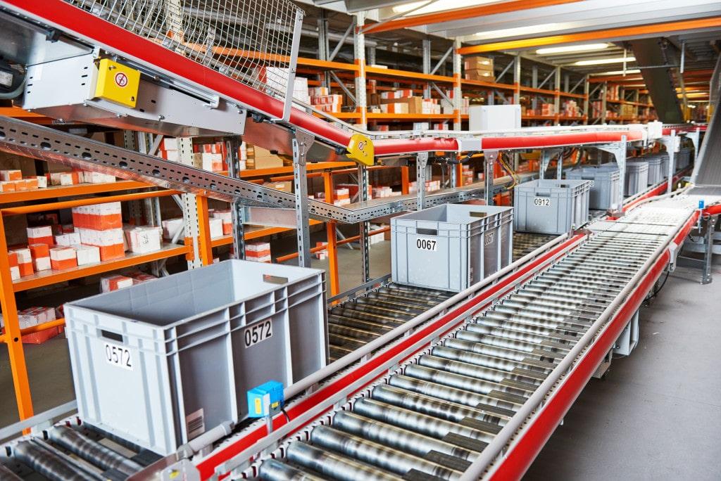 conveyor belt at a warehouse